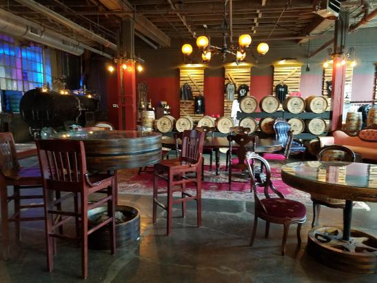 The front bar area of the Iron Smoke Distillery in Fairport, NY