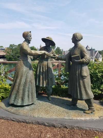 Statue in Senca Falls of Susan B. Anthony meeting Elizabeth Cady Stanton