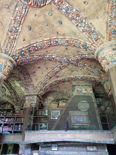 One of the libraries in Fonthill Castle, decorated with Mercer tiles.