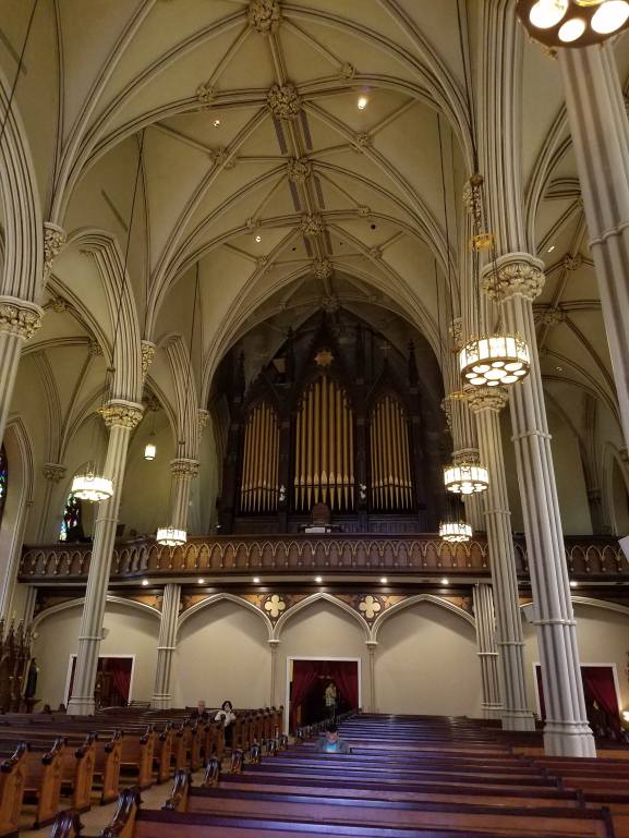 The pipe organ and choir loft at Old St. Patrick's Cathedral