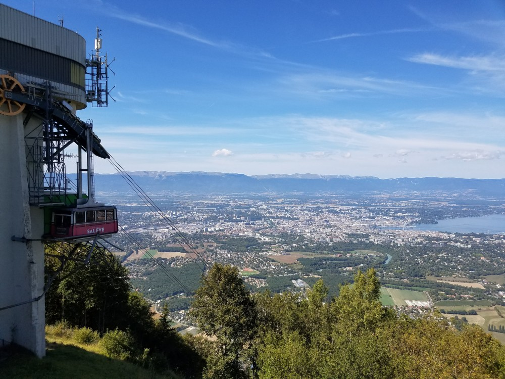 The Mont-Saleve cable car and the view from atop the mountain.