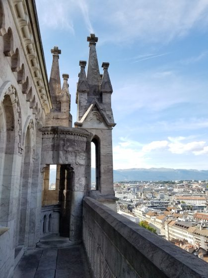 Standing at the top of one of St. Pierre's towers