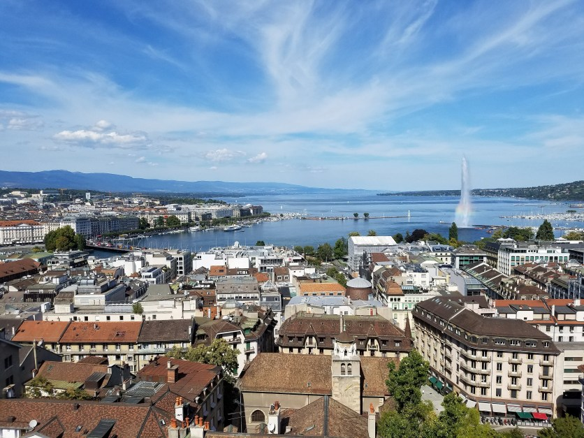 Lake Geneva and the Jet d'Eau, as soon from atop the St. Pierre Cathedral